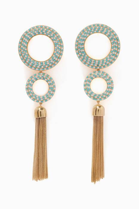 Gold Grommet Pave Earrings