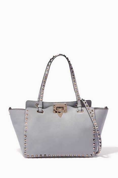 Pastel-Grey Small Rockstud Trapeze Tote Bag