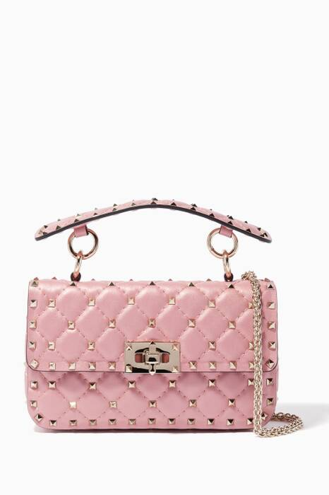 Pastel-Pink Small Rockstud Spike Chain Shoulder Bag
