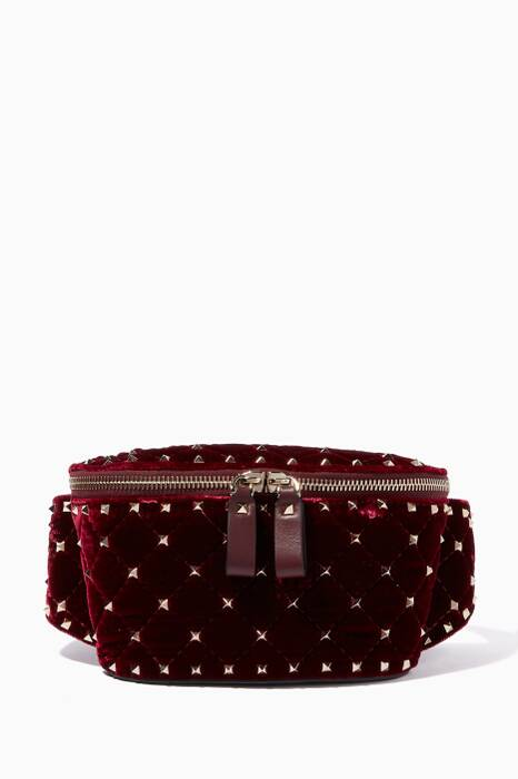 Red Velvet Quilted Rockstud Belt Bag