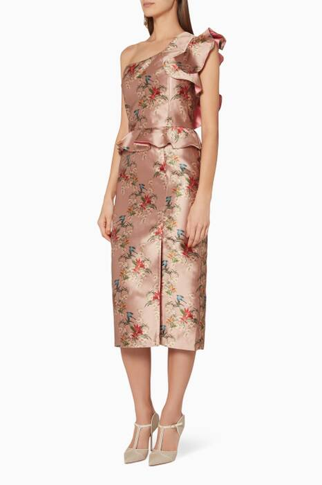 Rose-Gold Floral-Print La Divinidad Dress