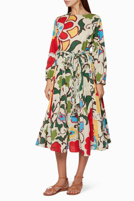 Multi-Coloured Printed Devi Midi Dress