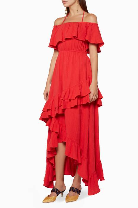 Cherry-Red Off-The-Shoulder Salma Dress