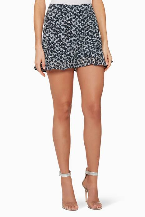 Navy & Ivory Embroidered Blossom Shorts
