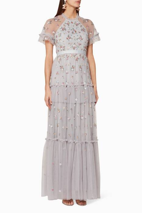 Light-Blue Sequin-Embellished Lustre Gown