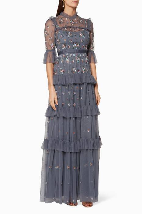 Vintage-Navy Embellished Lustre Ruffle Gown
