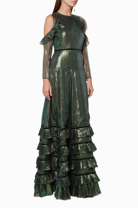Metallic Chameleon-Green India Gown