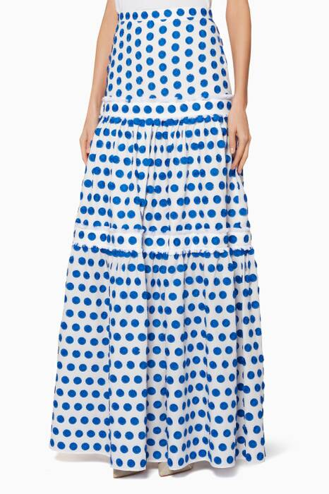 White & Blue Embroidered Adie Skirt