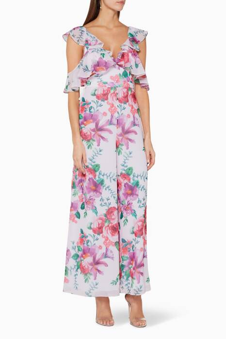 Light-Pink Floral-Print The Yvette Jumpsuit