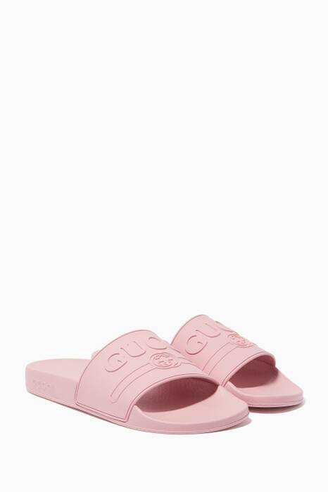 Pink Logo Rubber Slide Sandals