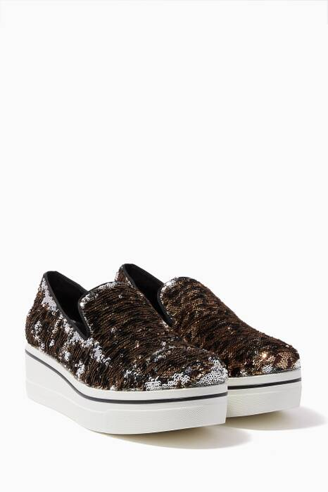 Multi-Coloured Leopard-Print Sequin-Embellished Binx Sneakers