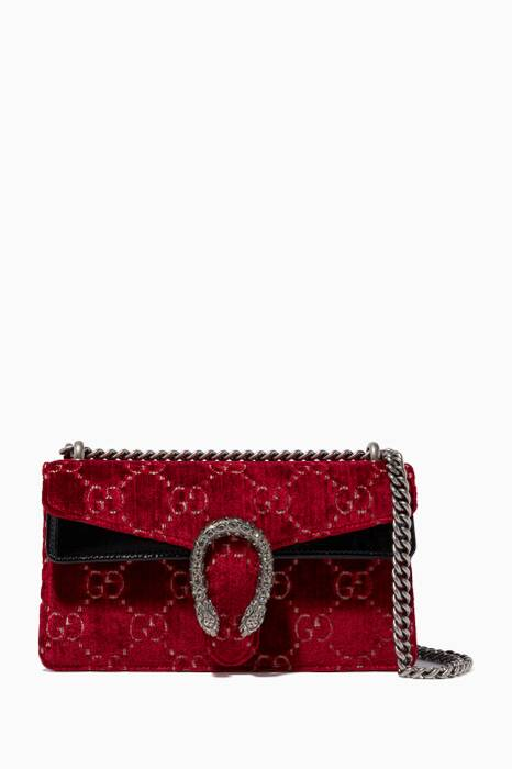 Dark-Red Velvet Small Dionysus Shoulder Bag