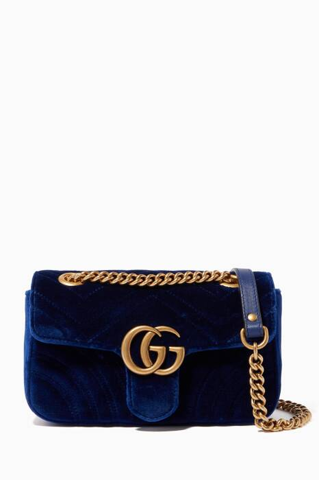 Blue Mini GG Marmont 2.0 Velvet Shoulder Bag