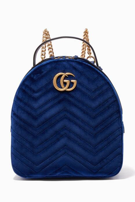 Blue GG Marmont Velvet Backpack