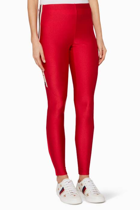 Red Gucci Logo Leggings