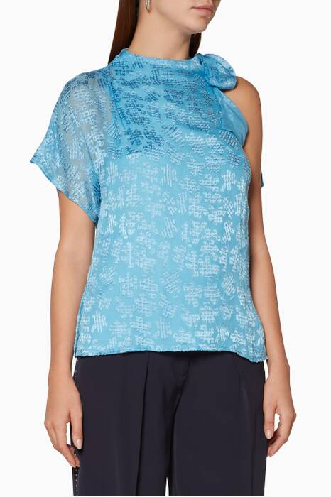 Pale-Blue Eimi One-Shoulder Top