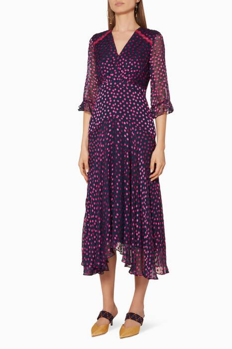 Navy Polka-Dotted Edith Dress