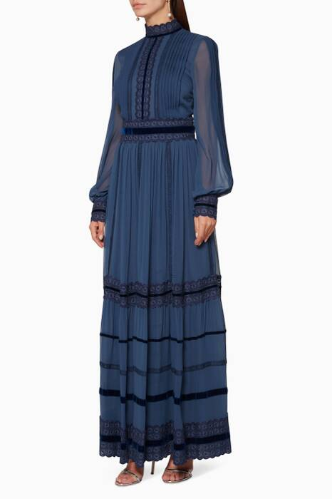 Insignia-Blue Lace-Trimmed Gown