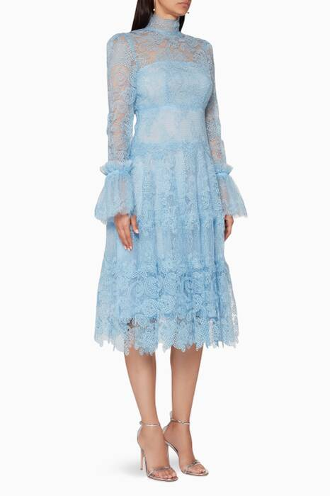 Light-Blue Gossamer Lace Midi Dress