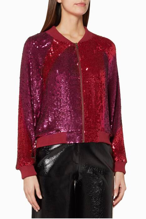 Burgundy & Pink Embellished Carrie Bomber Jacket