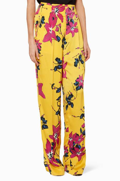 Yellow Floral-Print Pants