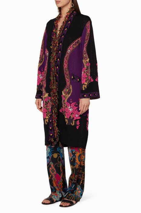 Black & Purple Knitted Floral Coat