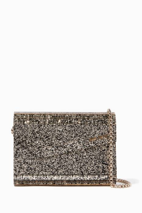 Gold Mix Candy Coarse Glitter Acrylic Clutch Bag