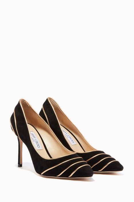 Black Romy 85 Suede Pumps
