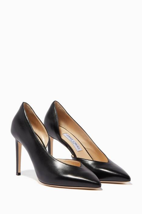 Black Sophia Kid Leather Pumps