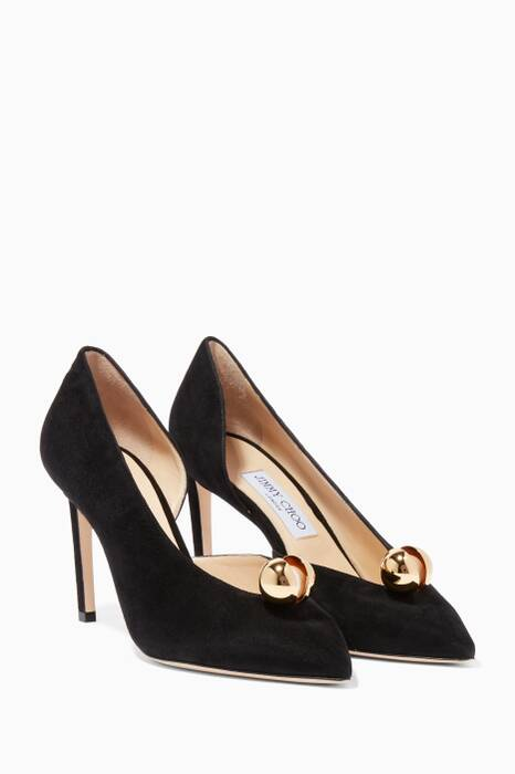 Black Sadira Suede Pumps