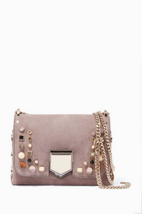 Opal-Grey Lockett Petite Studded Shoulder Bag