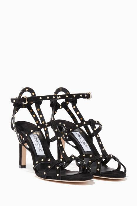 Black Beverly Suede & Pearl Sandals
