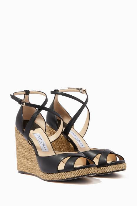 Black Alanah Nappa Leather Wedges