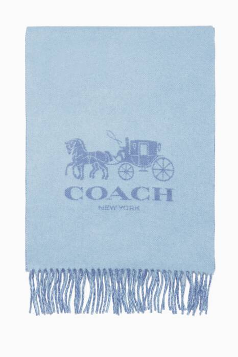 Light-Blue & Periwinkle Horse & Carriage Cashmere Muffler