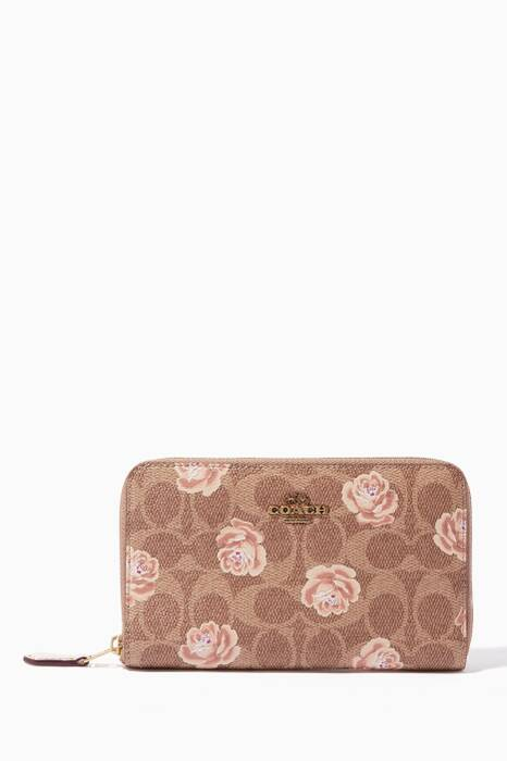 Tan Signature Rose-Print Medium Zip-Around Wallet