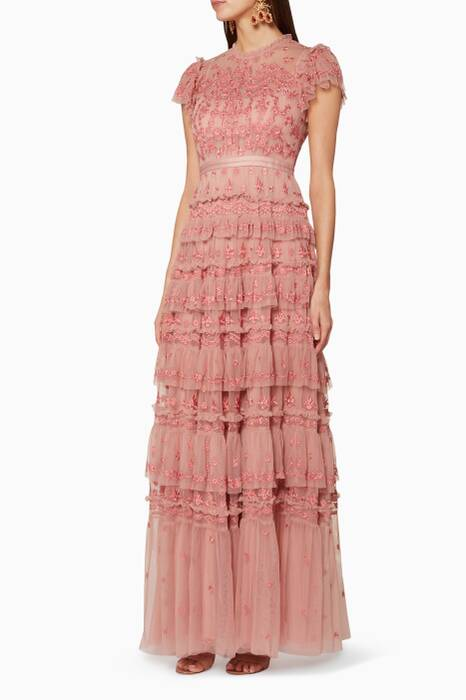 Rose-Pink Embroidered Darcy Gown