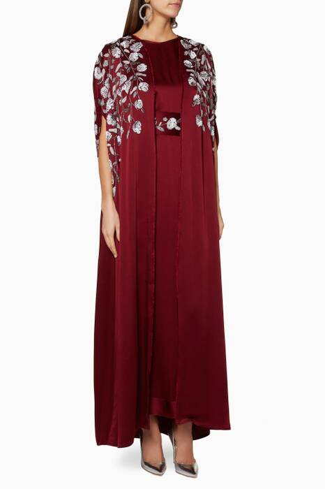 Dark-Red Embellished Kaftan