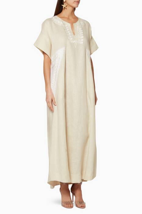 Beige Embroidered Short-Sleeve Kaftan