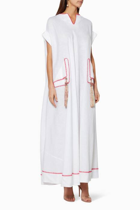 White Short-Sleeve Tassel-Detailed Kaftan