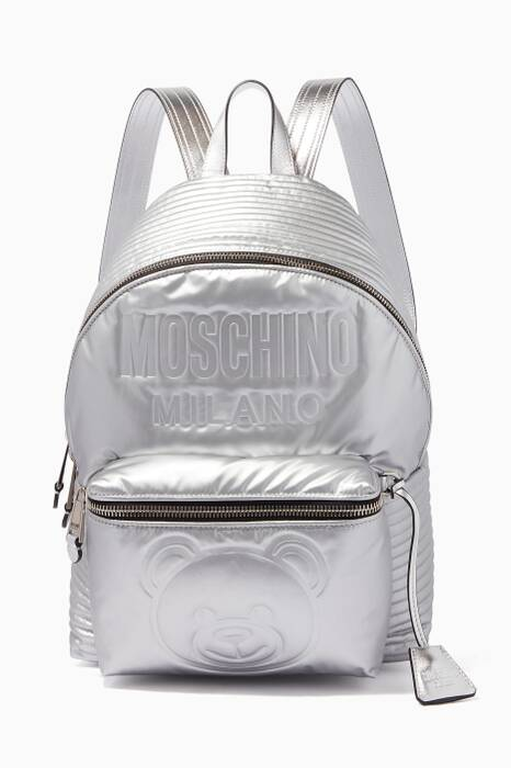 Silver Space Teddy Quilted Backpack