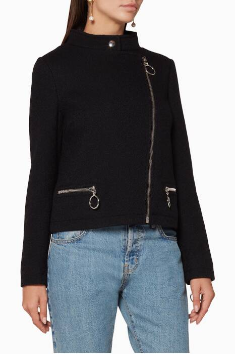 Black Zipped Boucle Jacket
