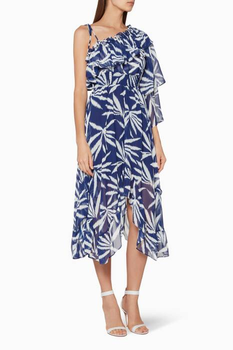Dark-Blue Printed Elody Midi Dress