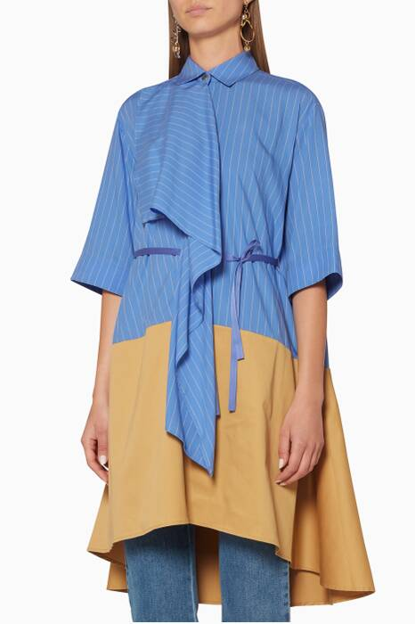 Blue Striped Ripple Shirtdress