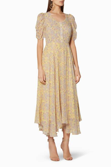 Yellow Floral-Print Coralie Dress