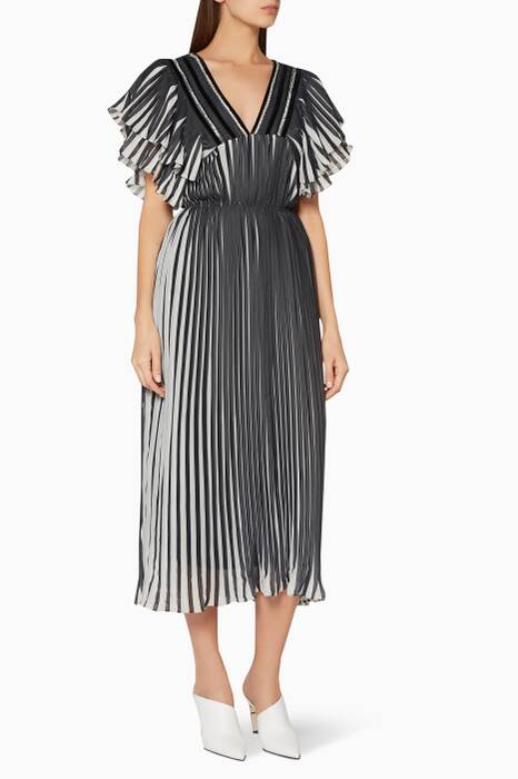 Black & White Pleated Midi Dress