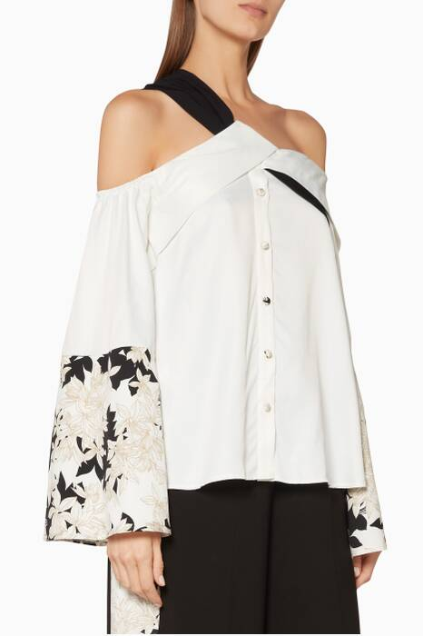 White Cold-Shoulder Kyoto Top