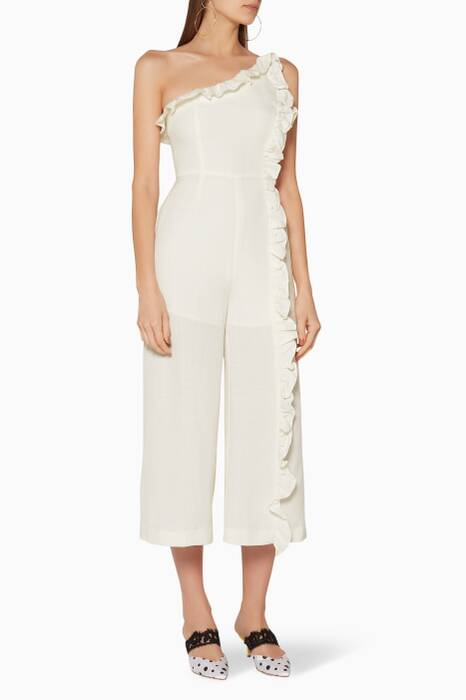 Ivory One-Shoulder Forgive Jumpsuit