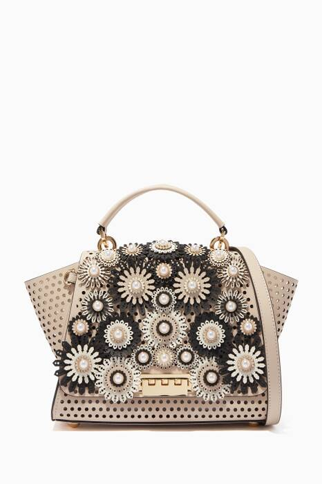 Beige Embellished Eartha Kit Medium Top-Handle Bag