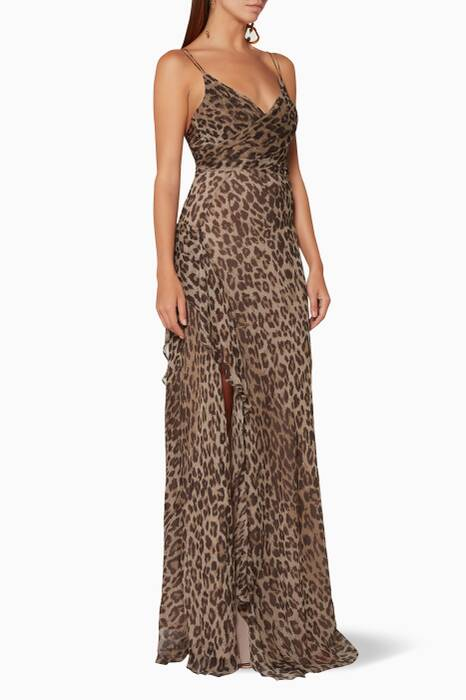 Leopard-Print Tie-Front Maxi Dress