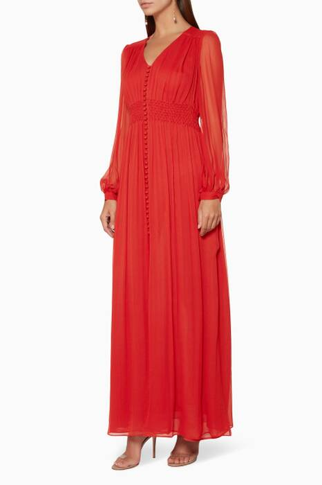 Red Smocked Maxi Dress